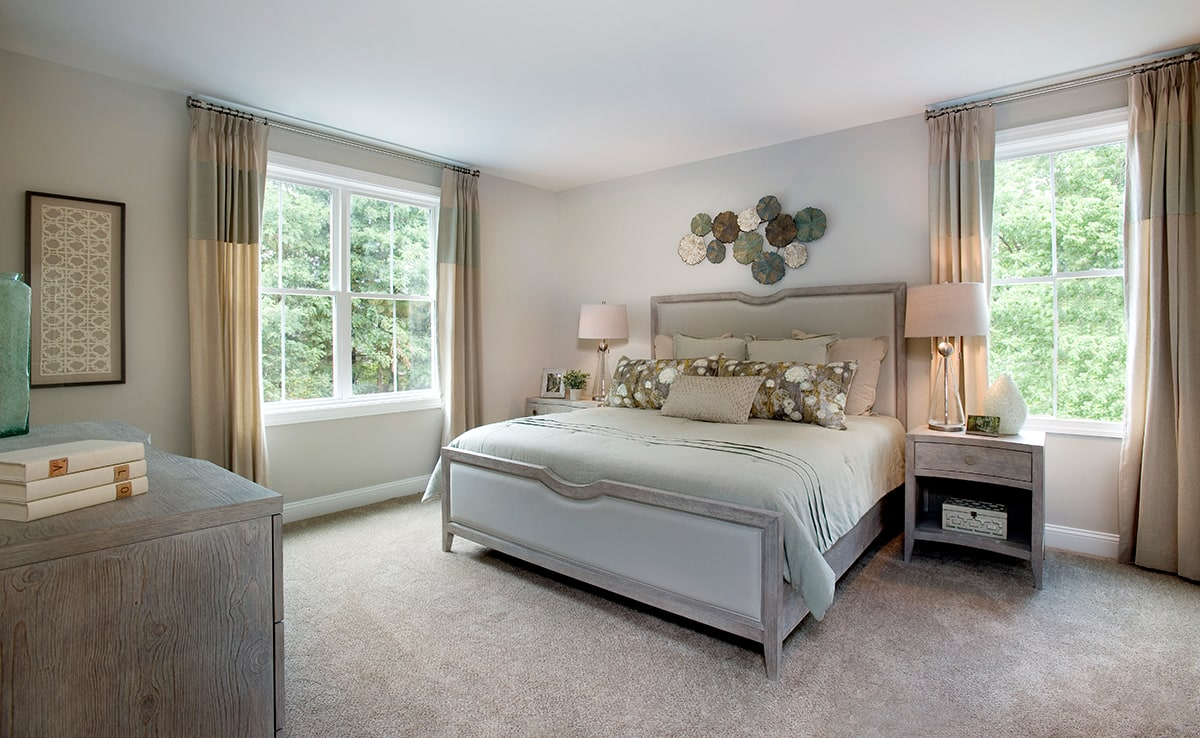 Carpeted, Spacious Bedroom, with two windows of the great outdoors