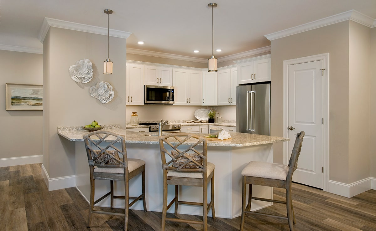 Island Kitchen, with Granite Countertops, with white cabinets